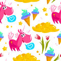 Vector flat seamless pattern with cute unicorn, stars,  ice cream cone, magic cloud, spring tulip flower and heart Royalty Free Stock Photo