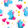 Vector flat seamless pattern with funny unicorn characters, stars and heart isolated on white background. Royalty Free Stock Photo