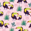 Vector flat seamless pattern with hand drawn exotic tropical toucan birds and floral wild nature elements isolated on pink backgro Royalty Free Stock Photo