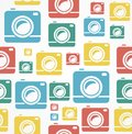 Vector Flat seamless photo camera pattern Royalty Free Stock Photo