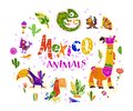 Vector flat set of mexico traditional elements, symbols & animal characters in flat hand drawn style isolated on white background. Royalty Free Stock Photo