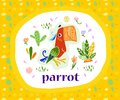 Vector flat set of mexico traditional floral symbols and parrot character in flat hand drawn style isolated on white background. Royalty Free Stock Photo