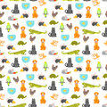Vector flat style colorful seamless pattern with home pet.