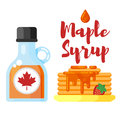 Vector flat style illustration of pancakes with maple syrup.