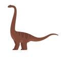 Vector flat style illustration of prehistoric animal - brontosaurus.