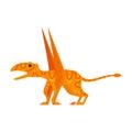 Vector flat style illustration of prehistoric animal - Dimorphodon.