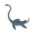 Vector flat style illustration of prehistoric animal - Elasmosaur.