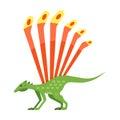 Vector flat style illustration of prehistoric animal - Longisquama.