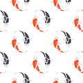 Vector flat style seamless pattern with Japanese koi fish.