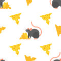Vector flat style seamless pattern with mouse and cheese.