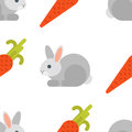 Vector flat style seamless pattern with rabbit and carrot.