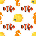 Vector flat style seamless pattern with red and yellow fish.
