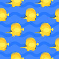 Vector flat style seamless pattern with yellow fish.