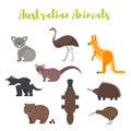 Vector flat style set of Australian animals.