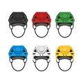 Vector flat style set of hockey helmet. Icon for web.