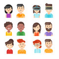 Vector flat style set of people icons.