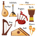 Vector flat style set of various traditional folk musical instruments.