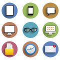 Vector flat technology circle icon set eps see my other works in portfolio Royalty Free Stock Image