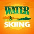 Vector flat water skiing logo illustration.
