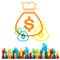 Vector Flat web icon hand Money bag set on white background Royalty Free Stock Photo