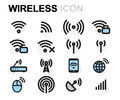 Vector flat wireless icons set