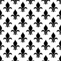 Vector fleur de lis seamless pattern in black and white Royalty Free Stock Photo