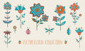 Vector floral collection. Royalty Free Stock Photo