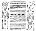 Vector floral decor set, collection of hand drawn doodle boho style dividers, borders, arrows design elements, dream Royalty Free Stock Photo
