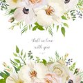 Vector floral design card with garden Rose Anemone white Orchid
