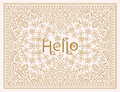 Vector floral design template with lettering - Hello. Line art elegant design for invitation, greeting card, wedding etc