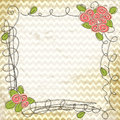Vector floral doodle frame vintage chevron zig zag background eps Royalty Free Stock Photos