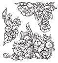 Vector floral elements for border, black contour Stock Images