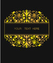 Vector floral frame in Eastern style. Ornate element for design. Place for text. Golden line art ornament for wedding invitations Royalty Free Stock Photo