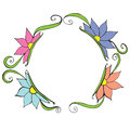 Vector floral frame with leaves and flowers