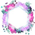 Vector floral frame with pink and violet peony, succulent,leaves. Trendy summer design.