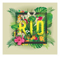 Vector floral framed typographic RIO city artwork Royalty Free Stock Photo
