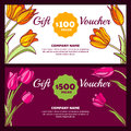 Vector floral gift voucher template. Colorful spring background with pink and yellow tulip flowers. Royalty Free Stock Photo