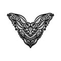 Vector floral neckline design for fashion flowers and leaves neck print chest lace embellishment ethnic indian ornament Stock Photo