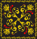 Vector floral ornament on black. Stock Image