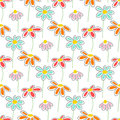 Vector floral pattern with cute daisies.