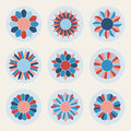 Vector Floral Petal Shape Stars in Pink and Blue Design Elements Set Royalty Free Stock Photo