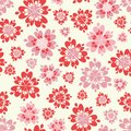 Vector floral pink and red seamless repeat pattern background.