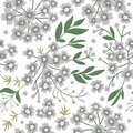 Vector floral seamless background with small white flowers. Flat trendy illustration with wormwood, leaves, branches. Repeating