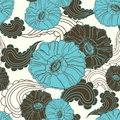 Vector floral seamless blue poppy flower Royalty Free Stock Photo