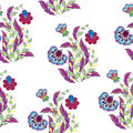 Vector floral seamless pattern with hand drawing fantasy flowers