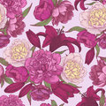 Vector floral seamless pattern with hand drawn pink and white peonies, red lilies