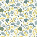 Vector floral seamless pattern with linden flowers. Hand drawn eco design.