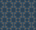 Vector floral seamless pattern with plants on a dark blue background. Royalty Free Stock Photo