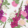 Vector floral seamless pattern with vilet and purple gladiolus flowers, pink and white roses and peonies