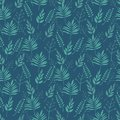 Seamless pattern Brown branches with green leaves, pastel colors on darck green background. Vector